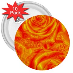 Gorgeous Roses, Orange 3  Buttons (10 Pack)