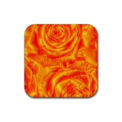 Gorgeous Roses, Orange Rubber Square Coaster (4 Pack)