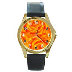 Gorgeous Roses, Orange Round Gold Metal Watches
