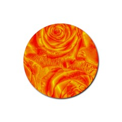 Gorgeous Roses, Orange Rubber Round Coaster (4 Pack)