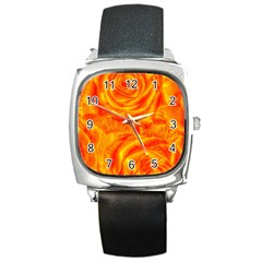 Gorgeous Roses, Orange Square Metal Watches