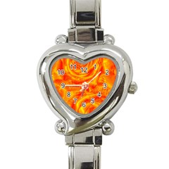 Gorgeous Roses, Orange Heart Italian Charm Watch