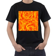 Gorgeous Roses, Orange Men s T Shirt (black) (two Sided)