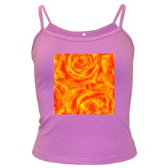 Gorgeous Roses, Orange Dark Spaghetti Tanks