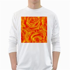 Gorgeous Roses, Orange White Long Sleeve T Shirts