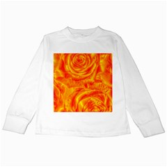 Gorgeous Roses, Orange Kids Long Sleeve T Shirts