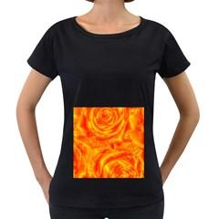 Gorgeous Roses, Orange Women s Loose-Fit T-Shirt (Black)