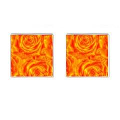 Gorgeous Roses, Orange Cufflinks (square)