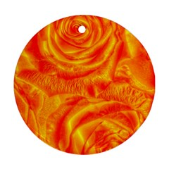 Gorgeous Roses, Orange Round Ornament (two Sides)