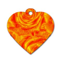 Gorgeous Roses, Orange Dog Tag Heart (two Sides)