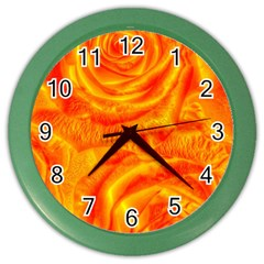 Gorgeous Roses, Orange Color Wall Clocks