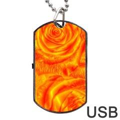 Gorgeous Roses, Orange Dog Tag USB Flash (One Side)