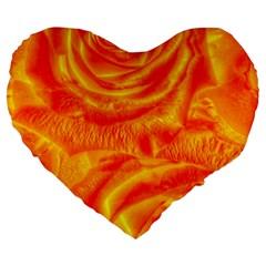 Gorgeous Roses, Orange Large 19  Premium Heart Shape Cushions