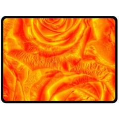Gorgeous Roses, Orange Double Sided Fleece Blanket (Large)