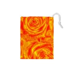 Gorgeous Roses, Orange Drawstring Pouches (small)