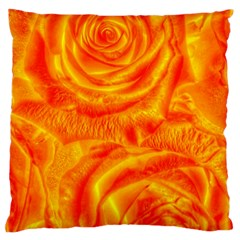 Gorgeous Roses, Orange Large Flano Cushion Cases (one Side)