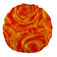 Gorgeous Roses, Orange Large 18  Premium Flano Round Cushions