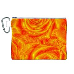 Gorgeous Roses, Orange Canvas Cosmetic Bag (XL)