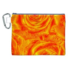 Gorgeous Roses, Orange Canvas Cosmetic Bag (XXL)