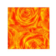 Gorgeous Roses, Orange Small Satin Scarf (Square)