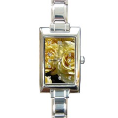 Yellow Roses Rectangle Italian Charm Watches