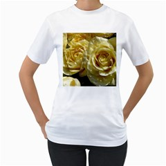 Yellow Roses Women s T-Shirt (White) (Two Sided)