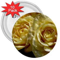 Yellow Roses 3  Buttons (10 Pack)