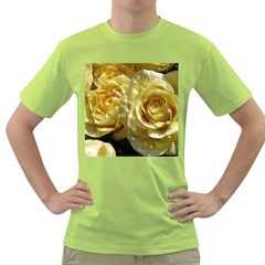Yellow Roses Green T Shirt
