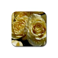 Yellow Roses Rubber Square Coaster (4 Pack)