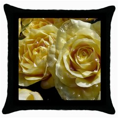Yellow Roses Throw Pillow Cases (black)