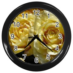 Yellow Roses Wall Clocks (black)
