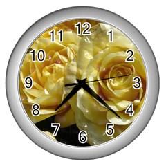 Yellow Roses Wall Clocks (silver)