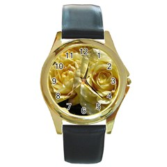 Yellow Roses Round Gold Metal Watches