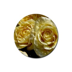 Yellow Roses Rubber Round Coaster (4 Pack)