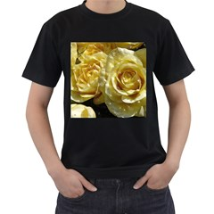 Yellow Roses Men s T Shirt (black) (two Sided)