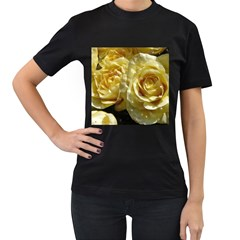 Yellow Roses Women s T Shirt (black) (two Sided)