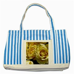 Yellow Roses Striped Blue Tote Bag