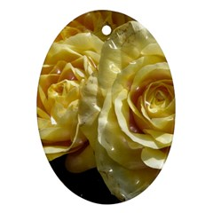 Yellow Roses Oval Ornament (two Sides)