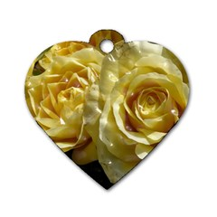 Yellow Roses Dog Tag Heart (two Sides)