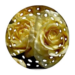 Yellow Roses Round Filigree Ornament (2Side)