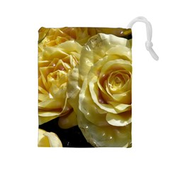 Yellow Roses Drawstring Pouches (Large)