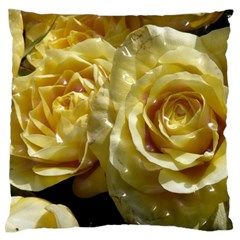 Yellow Roses Large Flano Cushion Cases (One Side)