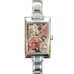 Great Garden Roses, Vintage Look  Rectangle Italian Charm Watches