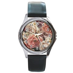 Great Garden Roses, Vintage Look  Round Metal Watches