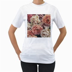 Great Garden Roses, Vintage Look  Women s T-Shirt (White) (Two Sided)