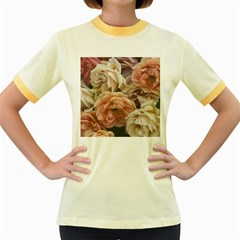 Great Garden Roses, Vintage Look  Women s Fitted Ringer T Shirts