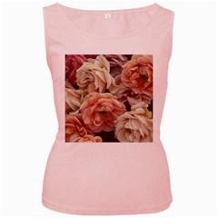Great Garden Roses, Vintage Look  Women s Pink Tank Tops