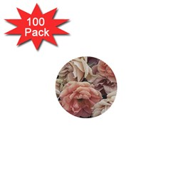 Great Garden Roses, Vintage Look  1  Mini Buttons (100 Pack)
