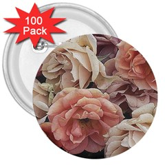 Great Garden Roses, Vintage Look  3  Buttons (100 Pack)