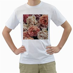 Great Garden Roses, Vintage Look  Men s T Shirt (white) (two Sided)